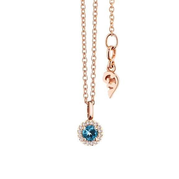 """Collier """"Espressivo"""" 750RG Topas London blue rund fac. Ø 4.0 mm, 16 Diamanten Brillant-Schliff 0.04ct TW/si, Länge 45.0 cm Zwischenöse bei 42.0 cm"""
