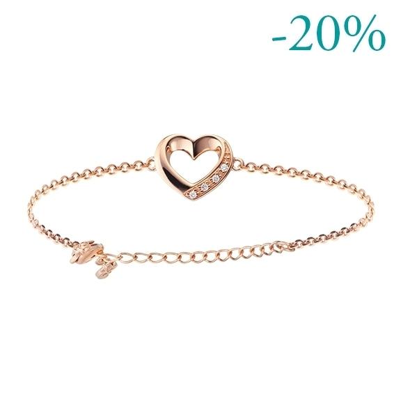 """Armband """"Piccolo Mondo"""" 750RG Herz , 4 Diamanten Brillant-Schliff 0.020ct TW/si, Länge 19.5 cm, Zwischenöse bei 15.0 cm"""