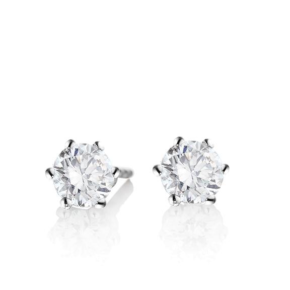 "Ohrstecker ""Diamante in Amore"" 750WG 6-er Krappe, 2 Diamanten Brillant-Schliff 1.00ct TW/si1 GIA Zertifikat"