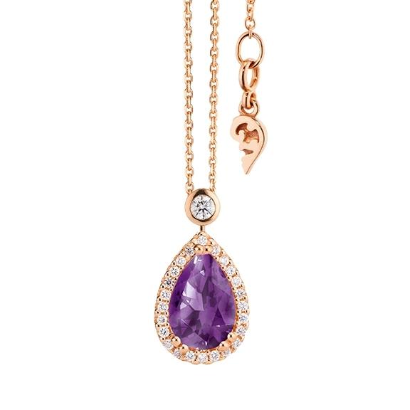 """Collier """"Espressivo"""" 750RG Amethyst medium Tropfen 12.0 x 8.0 mm ca. 3.00ct, 31 Diamanten Brillant-Schliff 0.22ct TW/si, Länge 45.0 cm Zwischenöse bei 42.0 cm"""