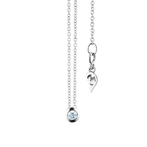 """Collier """"Diamante in Amore"""" 750WG Zargenfassung, 1 Diamant Brillant-Schliff 0.05ct TW/vs1, Länge 45.0 cm, Zwischenöse bei 42.0 cm"""
