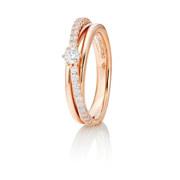 """Ring """"Magnifico"""" 750RG,  1 Diamant Brillant-Schliff 0.15ct TW/si, 28 Diamanten Brillant-Schliff 0.39ct TW/si"""