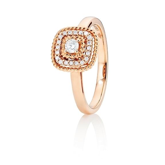 """Ring """"Amore mio"""" 750RG, 21 Diamanten Brillant-Schliff 0.18ct TW/si"""
