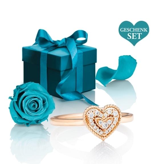 """Geschenkset """"Valentine 1"""", Ring 750RG 19 Diamanten Brillant-Schliff 0.09ct TW/si mit exklusiver Geschenkverpackung und einer ewigen Rose"""