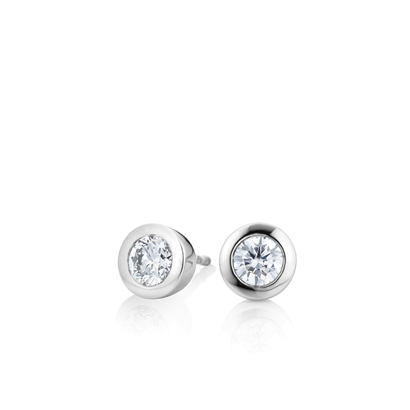 "Ohrstecker ""Diamante in Amore"" 750WG Zargenfassung, 2 Diamanten Brillant-Schliff 0.30ct TW/vs1"