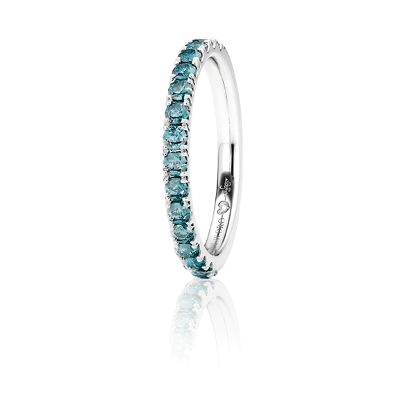 "Memoirering ""Diamante in Amore"" 750WG, 15 Diamanten Brillant-Schliff 0.60ct ocean-blue beh., 1 Diamant Brillant-Schliff 0.005ct TW/vs1"