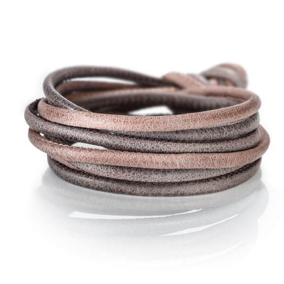 Armband Kalbsleder smokey nuss 4-reihig, Ø 3.0 mm, 38.0 cm