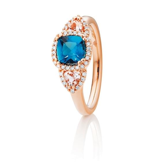 """Ring """"Espressivo"""" 750RG, London blue Topas antik 6.0 x 6.0 mm ca. 1.10ct, Morganit Trillion 3.5 x 3.5 mm ca. 0.30ct, 42 Diamanten Brillant-Schliff 0.15ct TW/si"""