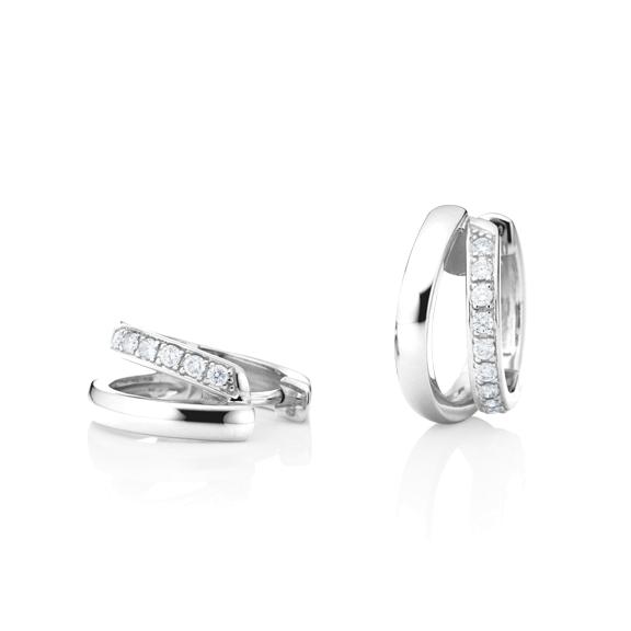 "Ohrcreolen ""La Donna"" 750WG, 22 Diamanten Brillant-Schliff 0.33ct TW/si"