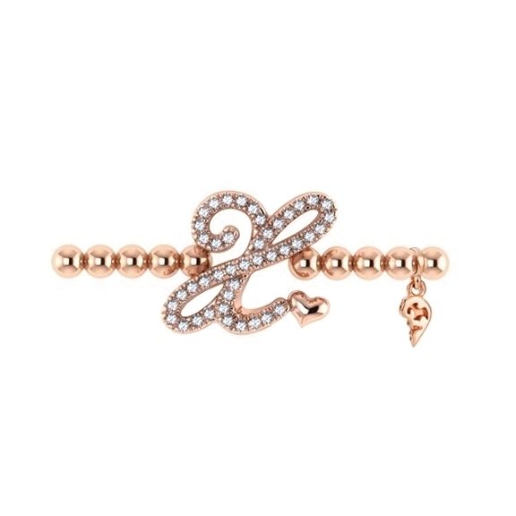 "Armband ""Poesia"" 750RG, Buchstabe ""X"", 43 Diamanten Brillant-Schliff 0.16ct TW/vs1, Innenumfang 17.0 cm"