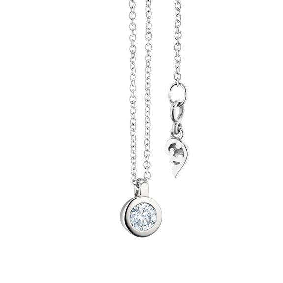 """Collier """"Diamante in Amore"""" 750WG Zargenfassung, Schlaufe, 1 Diamant Brillant-Schliff 0.20ct TW/vs1, Länge 45.0 cm, Zwischenöse bei 42.0 cm"""