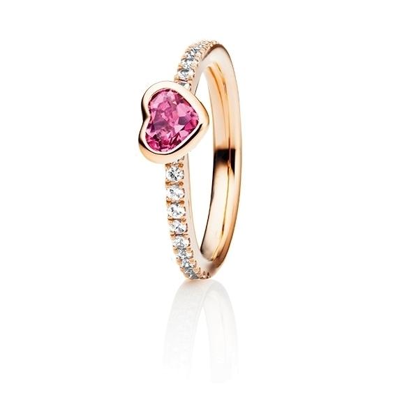 "Ring ""Piccolo Mondo"" 750RG, Turmalin Herz facettiert 5.6x 4.8 mm ca. 0.50ct, 18 Diamanten Brillant-Schliff 0.15ct TW/vs"