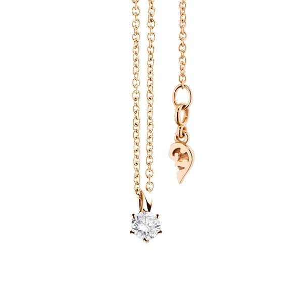 """Collier """"Diamante in Amore"""" 750RG 6-er Krappe, Schlaufe, 1 Diamant Brillant-Schliff 0.15ct TW/vs1, Länge 45.0 cm, Zwischenöse bei 42.0 cm"""