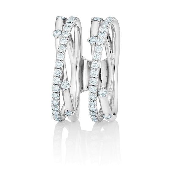 """Ring """"Jaquet"""" 750WG, 74 Diamanten Brillant-Schliff 1.02ct TW/vs1"""