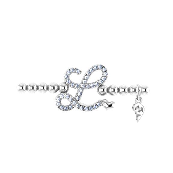 "Armband ""Poesia"" 750WG, Buchstabe ""L"", 39 Diamanten Brillant-Schliff 0.15ct TW/vs, Innenumfang 17.0 cm"