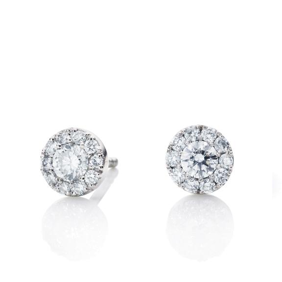 "Ohrstecker ""Brillantissimo"" Look-Like 2.00ct, 750WG, 2 Diamanten Brillant-Schliff 0.32ct TW/vs1, 20 Diamanten Brillant-Schliff 0.30ct TW/vs1"