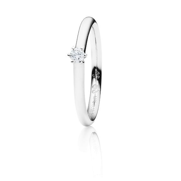 "Ring ""Diamante in Amore"" 750WG 6-er Krappe, 1 Diamant Brillant-Schliff 0.10ct TW/vs1, 1 Diamant  Brillant-Schliff 0.005ct TW/vs1"
