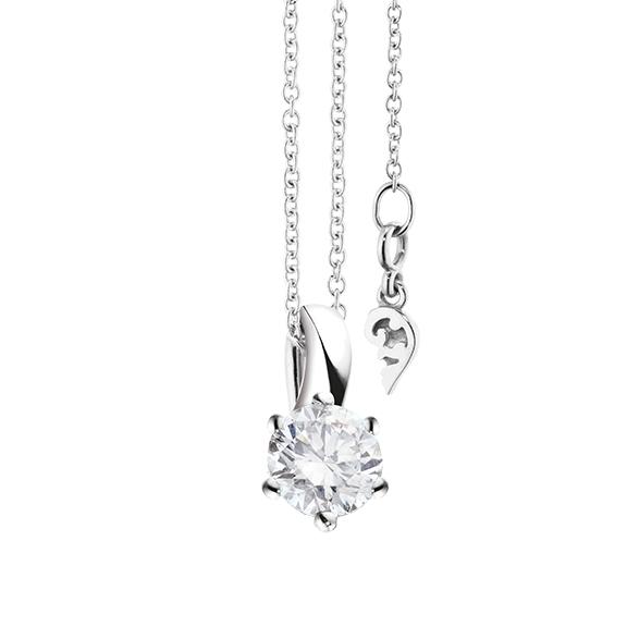 """Collier """"Diamante in Amore"""" 750WG 6-er Krappe, Schlaufe, 1 Diamant Brillant-Schliff 0.60ct TW/vs1 GIA Zertifikat, Länge 45.0 cm, Zwischenöse bei 42.0 cm"""