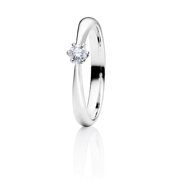 """Ring """"Classico"""" 950 Platin 6-er Krappe, 1 Diamant Brillant-Schliff 0.25ct TW/si"""