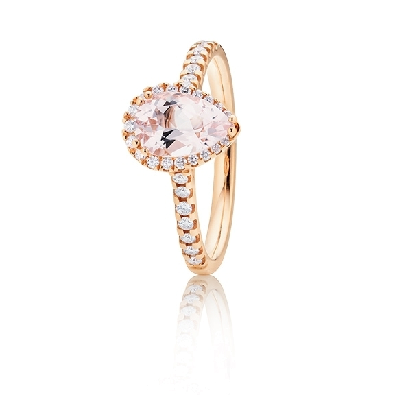 "14k Ring ""Jennifer x Espressivo"" Roségold, Morganit facettiert 9x6 mm ca. 1.10ct, 39 Diamanten Brillant-Schliff 0.25ct F/si1"