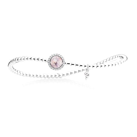 "Armband ""Espressivo"" 750WG, Rosenquarz facettiert Ø 6.0 mm ca. 0.70ct, 22 Diamanten Brillant-Schliff 0.06ct TW/si1, Innenumfang 17.0 cm"