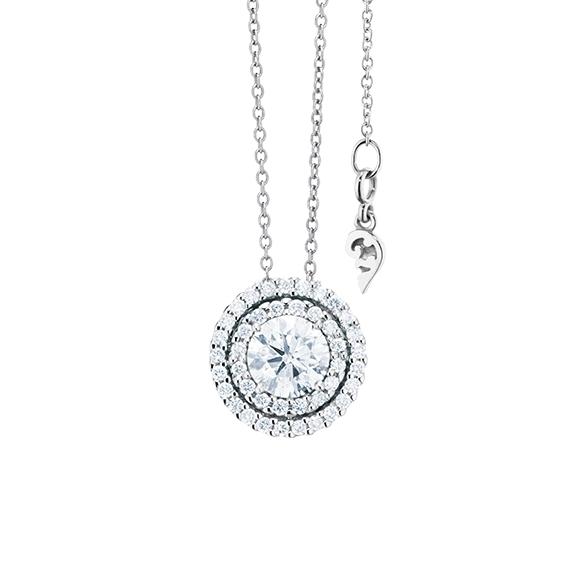 "Anhänger ""Brillantissimo"" 750WG, 1 Diamant Brillant-Schliff 0.50ct TW/si, 41 Diamanten Brillant-Schliff 0.16ct TW/si"
