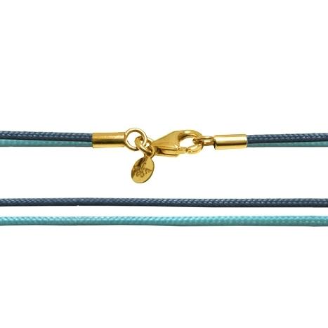 Textilband 750GG türkis + taubenblau 2-reihig 65.0 cm