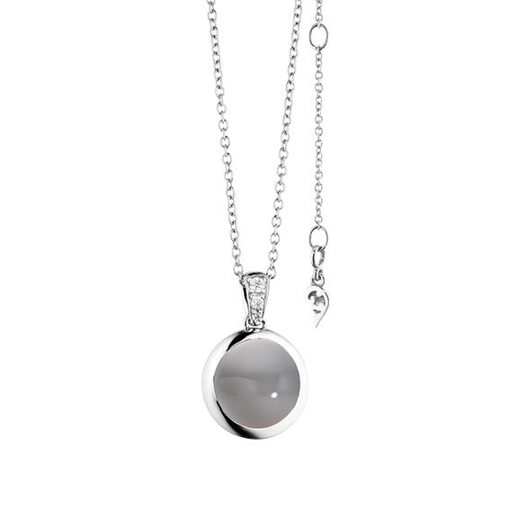 """Anhänger """"Velluto"""" 750WG, Mondstein grau hell Cabochon Ø 11.0 mm ca. 4.5ct, 3 Diamanten Brillant-Schliff 0.03ct TW/vs"""