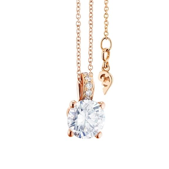 """Collier """"Diamante in Amore"""" 750RG 4-er Krappe, Brillantöse, 1 Diamant Brillant-Schliff 1.00ct TW/vs1 GIA Zertifikat, 5 Diamanten Brillant-Schliff 0.03ct TW/vs1, Länge 45.0 cm, Zwischenöse bei 42.0 cm"""