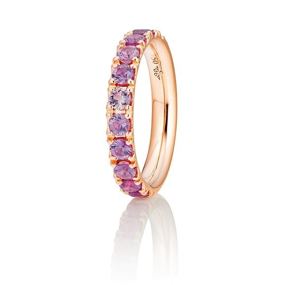 "Ring ""Rainbow"" 750RG, 11 Saphire pink facettiert ca. 1.50ct"