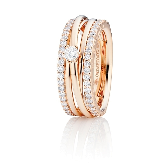 "Ring ""Magnifico"" 750RG, 1 Diamant Brillant-Schliff 0.15ct TW/si, 58 Diamanten Brillant-Schliff 0.82ct TW/si"