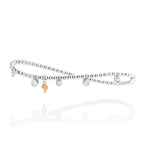 """Armband """"Prosecco d´oro"""" 750WG, 7 Diamanten Brillant-Schliff 0.50ct TW/vs1, Innenumfang 17.0 cm"""