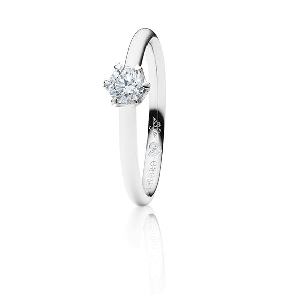 """Ring """"True Love"""" 750WG 6-er Krappe mit seitl. RG-Herz, 1 Diamant Brillant-Schliff 0.33ct TW/si1 GIA Zertifikat, 1 Diamant Brillant-Schliff 0.005ct TW/vs1"""