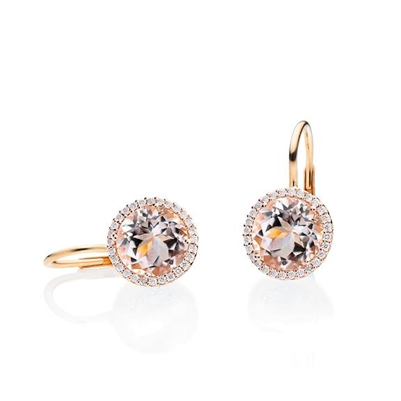 "Ohrhänger ""Espressivo"" 750RG, Morganit facettiert Ø 9.0 mm ca. 6.00ct, 56 Diamanten Brillant-Schliff 0.20ct TW/si"