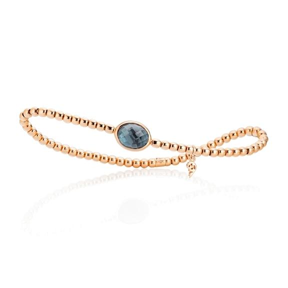 "Armband ""Velluto"" 750RG, Topas London blue Cabochon facettiert 10.0 x 8.0 mm ca. 3.0ct, Innenumfang 17.0 cm"