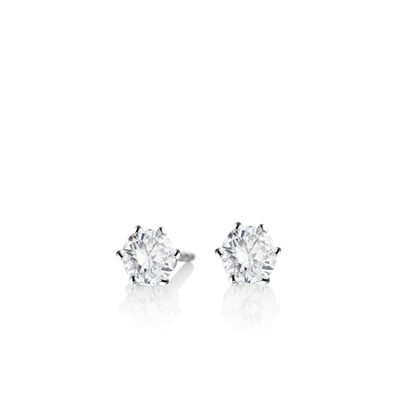"Ohrstecker ""Diamante in Amore"" 750WG 6-er Krappe, 2 Diamanten Brillant-Schliff á 0.25ct TW/vs1"