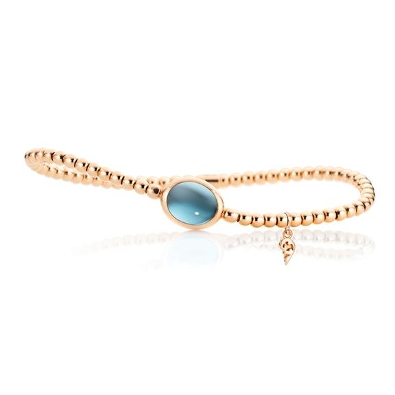 "Armband ""Velluto"" 750RG, Topas sky blue Cabochon 10.0 x 8.0 mm ca. 3.2ct, Innenumfang 17.0 cm"