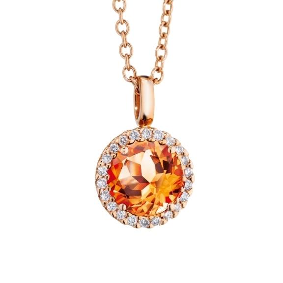 "Anhänger ""Espressivo"" 750RG, Granat Mandarin facettiert Ø 6.0 mm, 22 Diamanten Brillant-Schliff 0.08ct TW/si"