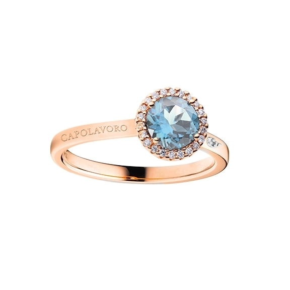 "Ring ""Espressivo"" 750RG, Topas sky blue facettiert Ø 6.0 mm, 22 Diamanten Brillant-Schliff 0.07ct TW/si"