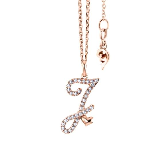 """Anhänger """"Poesia"""" 750RG, Buchstabe """"J"""", 34 Diamanten Brillant-Schliff 0.13ct TW/vs"""