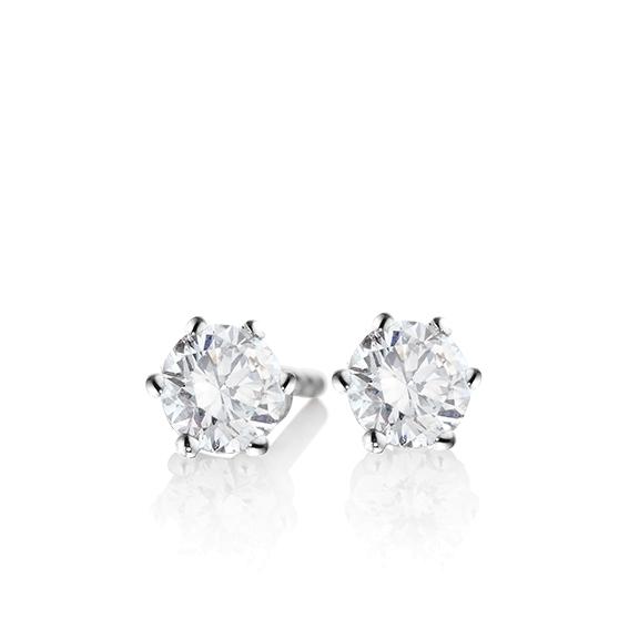 "Ohrstecker ""Diamante in Amore"" 750WG 6-er Krappe, 2 Diamanten Brillant-Schliff 0.80ct TW/si1 GIA Zertifikat"