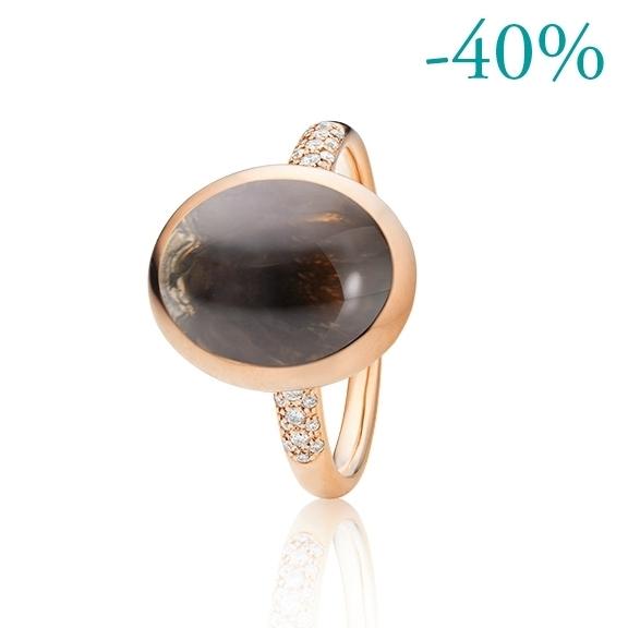 """Ring """"Velluto"""" 750RG, Rauchquarz Cabochon 16.0 x 12.0 mm ca. 9.00ct, 30 Diamanten Brillant-Schliff 0.30ct TW/vs"""