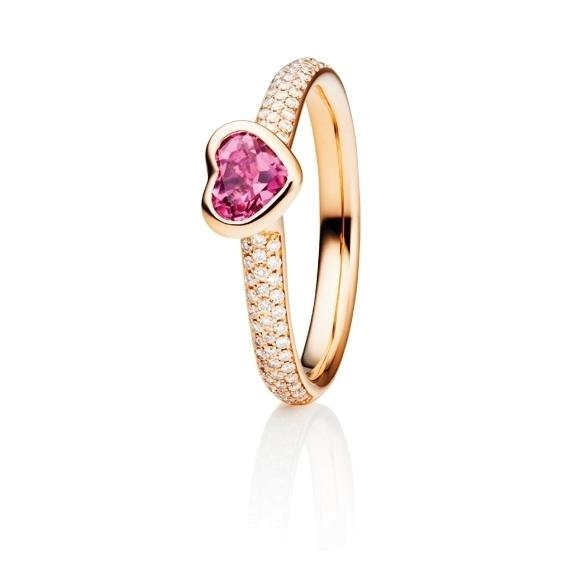 """Ring """"Pure Love"""" 750RG, Turmalin pink Herz-Schliff 5.6 x 4.8 mm ca. 0.50ct, 80 Diamanten Brillant-Schliff 0.24ct TW/vs"""