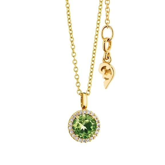 "Anhänger ""Espressivo"" 750GG, Peridot facettiert Ø 6.0 mm, 22 Diamanten Brillant-Schliff 0.06ct TW/si"
