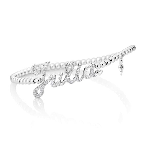 "Armband ""Poesia"" 750WG, 87 Diamanten Brillant-Schliff 0.37ct TW/vs1, Innenumfang 17.0 cm"