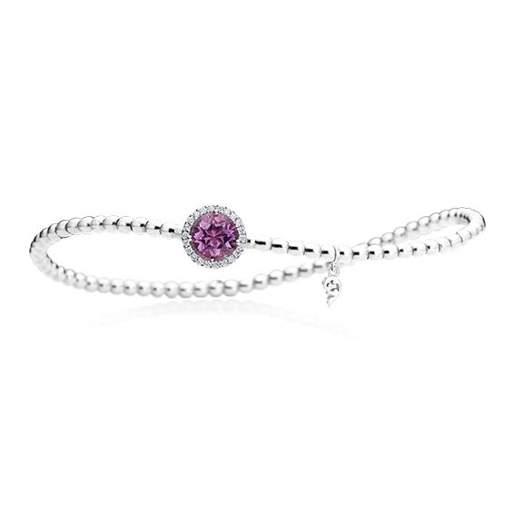 "Armband ""Espressivo"" 750WG, Amethyst facettiert Ø 6.0 mm, 22 Diamanten Brillant-Schliff 0.06ct TW/si1, Innenumfang 17.0 cm"
