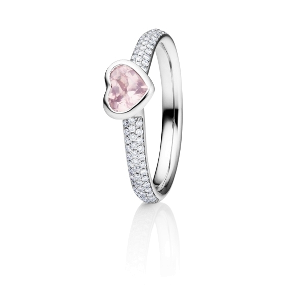 "Ring ""Pure Love"" 750WG, Rosenquarz Herz milky facettiert 5.6 x 4.8 mm ca. 0.40ct, 80 Diamanten Brillant-Schliff 0.24ct TW/vs"