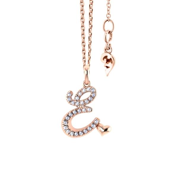 """Anhänger """"Poesia"""" 750RG, Buchstabe """"E"""", 29 Diamanten Brillant-Schliff 0.11ct TW/vs"""
