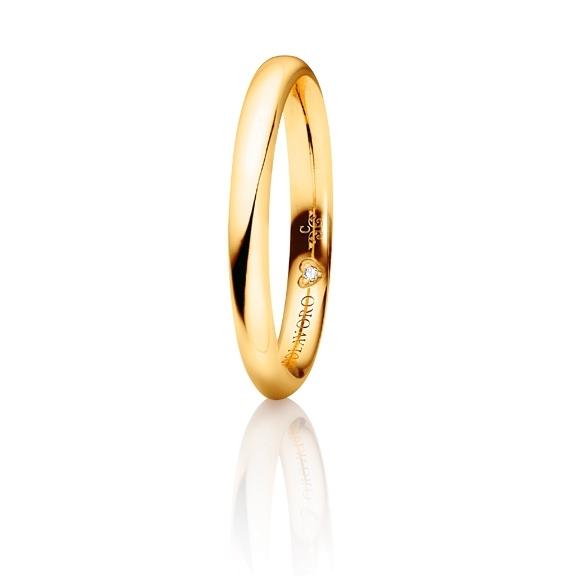 """Trauring """"Diamante in Amore"""" 750GG halbrund und innen bombiert, 1 Diamant Brillant-Schliff 0.005ct TW/vs1"""