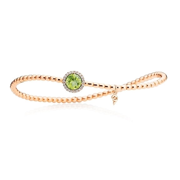 "Armband ""Espressivo"" 750RG, Peridot facettiert Ø 6.0 mm ca. 0.06ct, 22 Diamanten Brillant-Schliff 0.06ct TW/si, Innenumfang 17.0 cm"